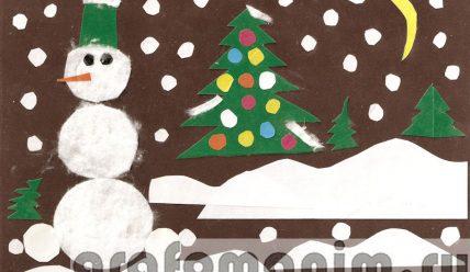 Аппликация снеговик из ватных дисков