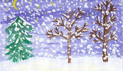 Детские рисунки зимы