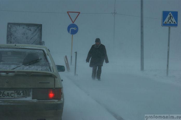 Снегопад в марте в Ростове