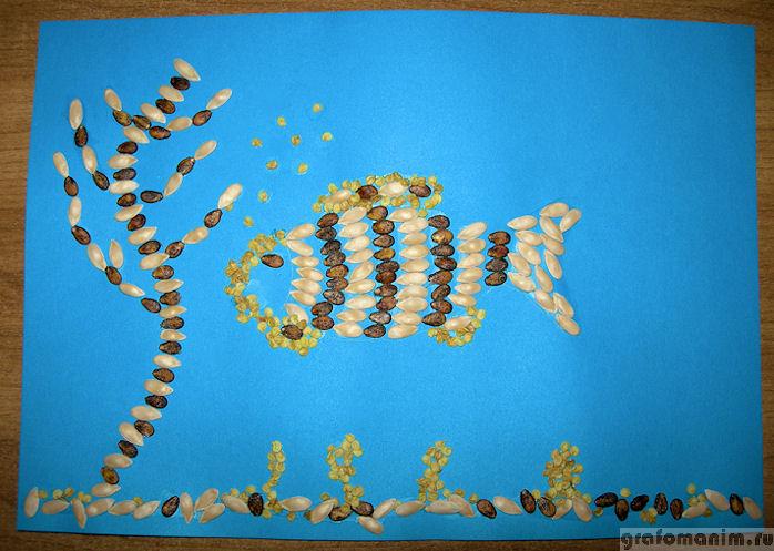 Как сделать рыбку из семечек