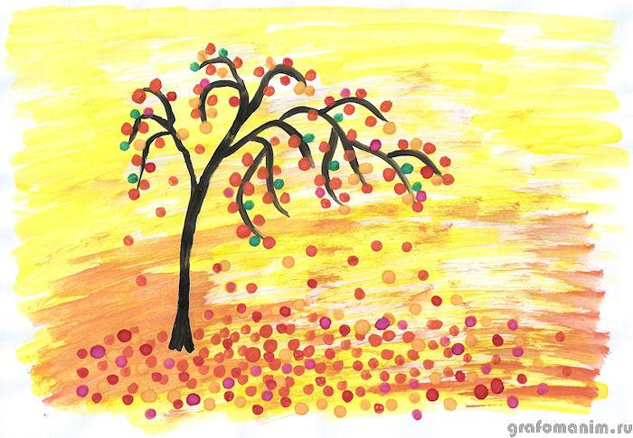 Рисунок осени ватными палочками