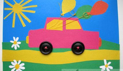 Аппликация машинка с пуговицами-колёсами