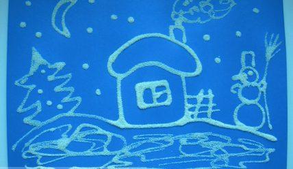 Аппликация зима из манки