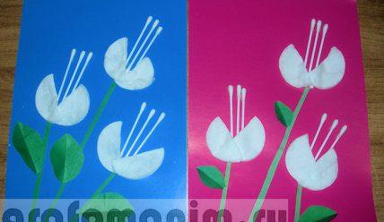 Детские открытки к 8 Марта из ватных дисков и палочек